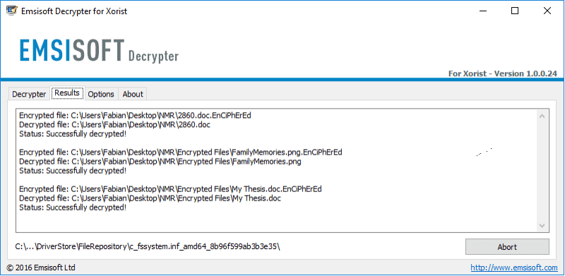 Image of Xorist decryption tool