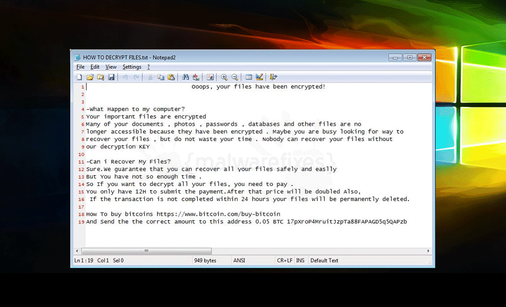Screenshot image of Xorist ransom note