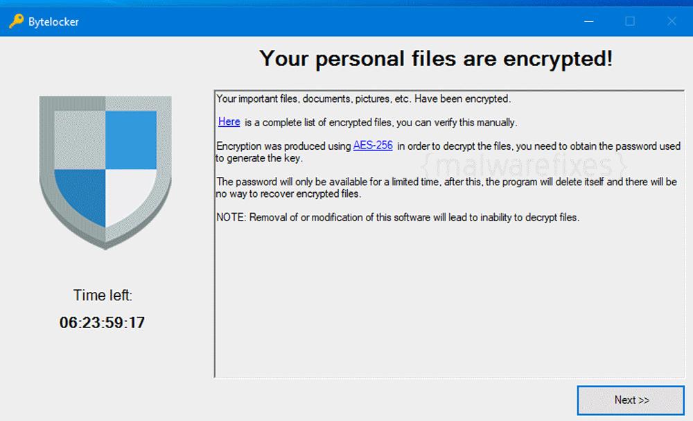 Screenshot of Bytelocker virus