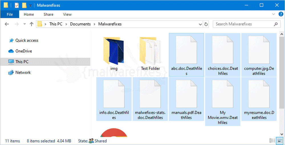 Screenshot of Deathfiles encrypted files