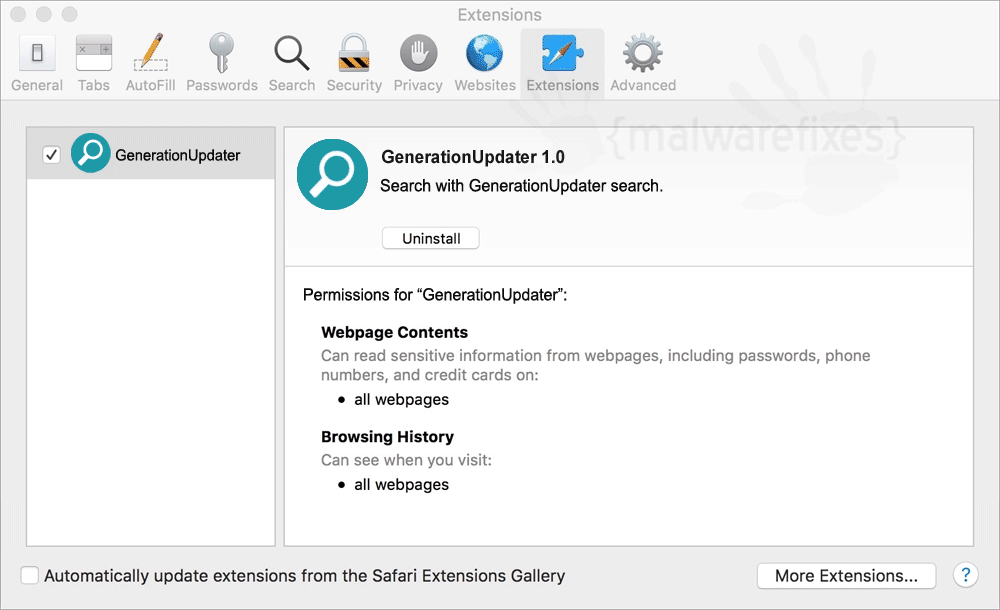 Screenshot of GenerationUpdater Adware