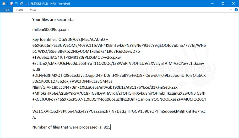 Screenshot of Milleni5000 ransom note