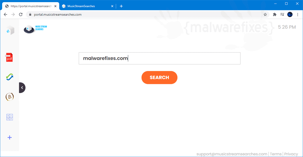 Screenshot of MusicStreamSearches website