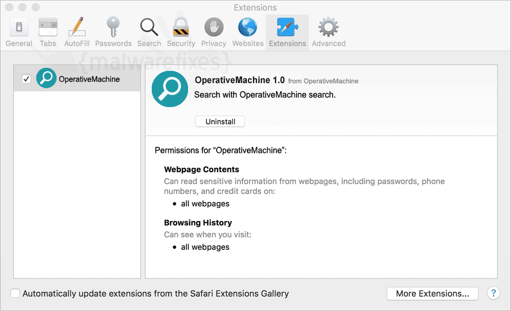 Screenshot of OperativeMachine extension