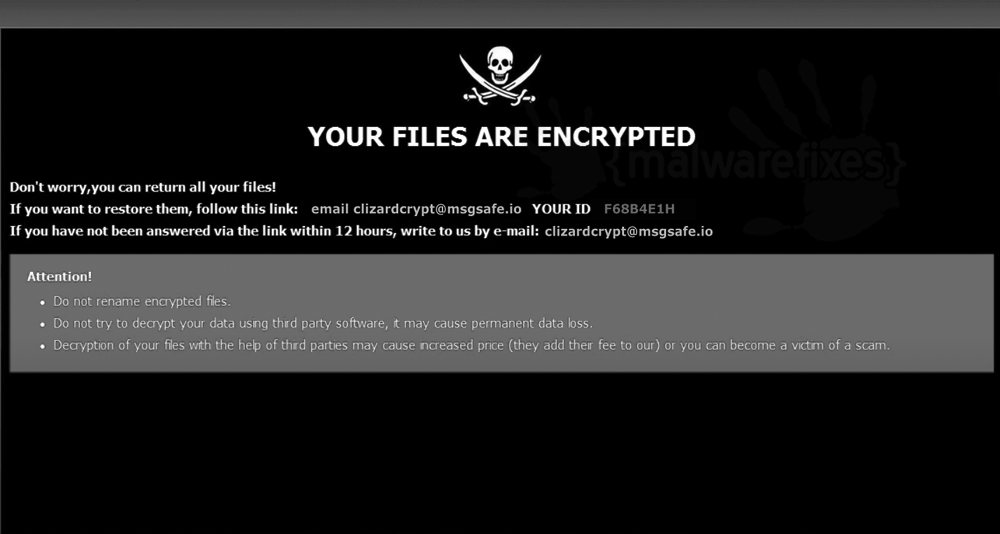 Screenshot of Four ransomware note