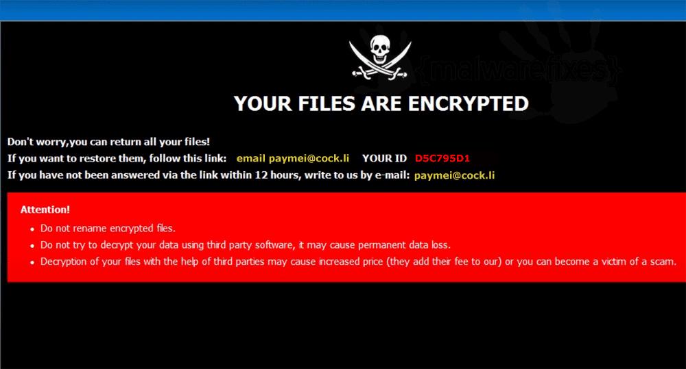 Screenshot of Lotus ransom note