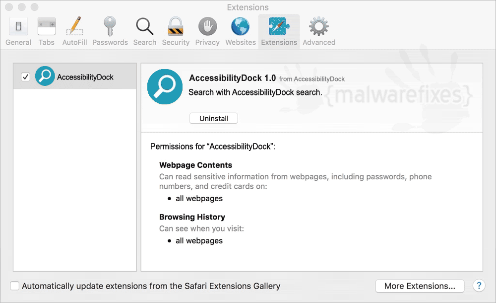 Screenshot of AccessibilityDock App