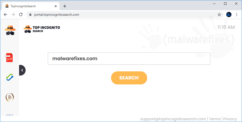 Screenshot of TopIncognitoSearch website