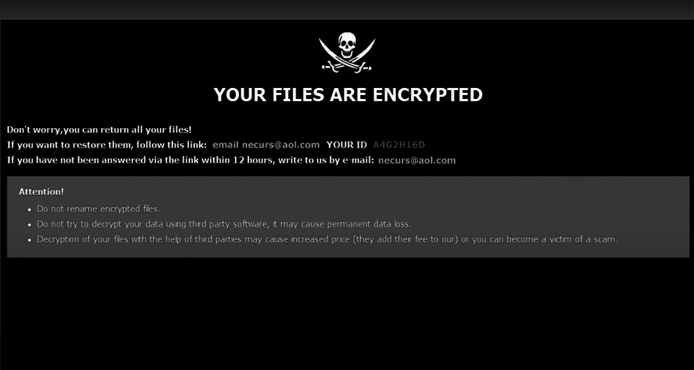 Screenshot image of Urs ransom note