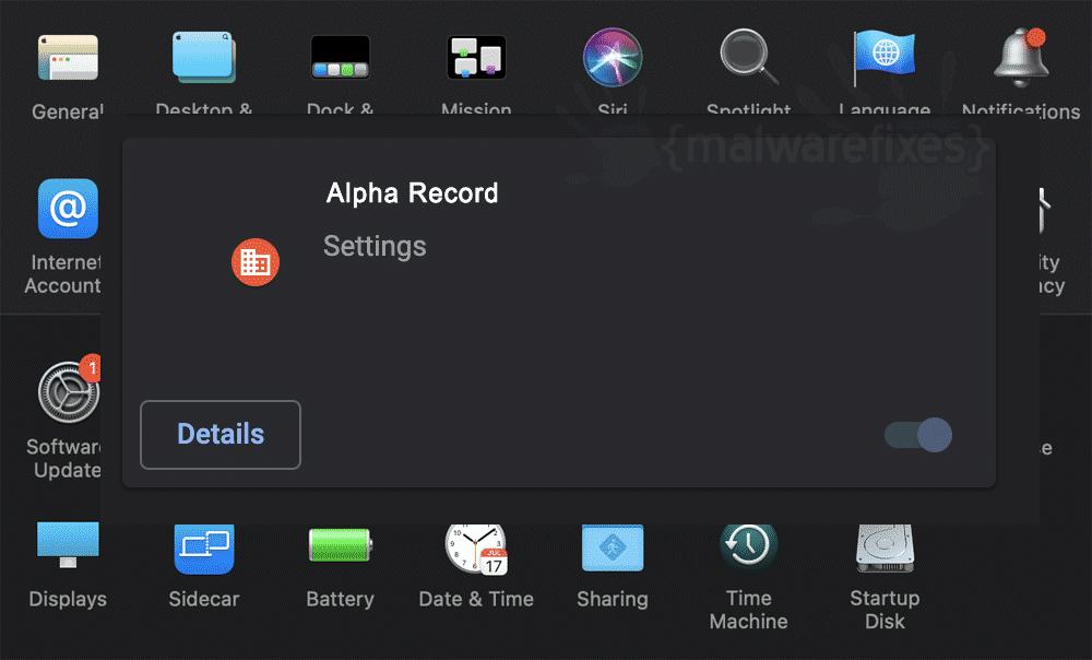 Screenshot of Alpha Record adware