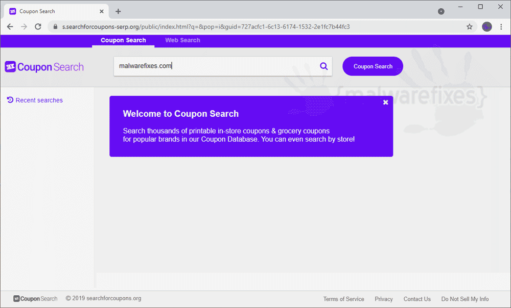 Screenshot of Coupon Search homepage