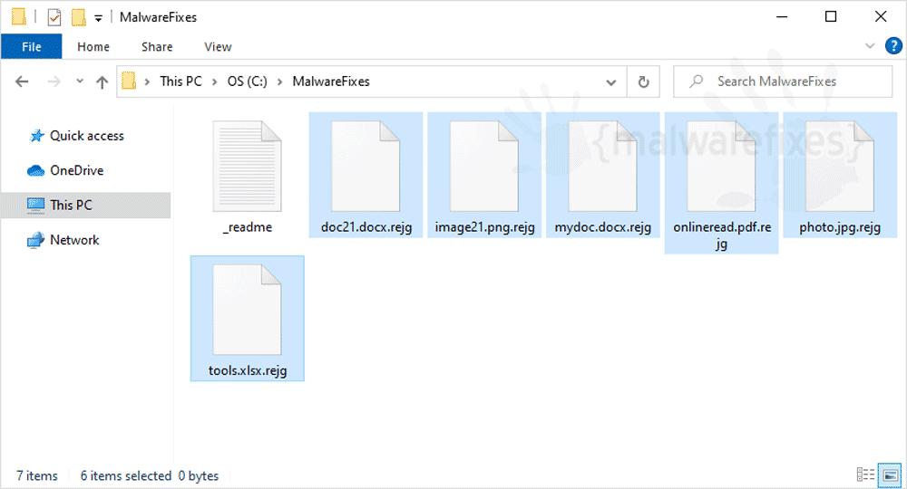 Screenshot of Rejg Ransomware
