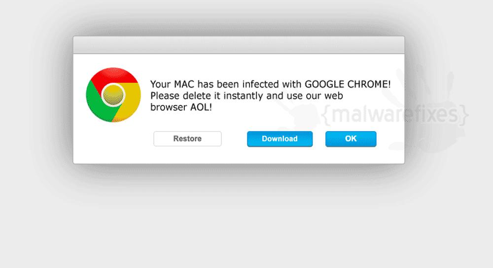 Screenshot image of fake pop-up