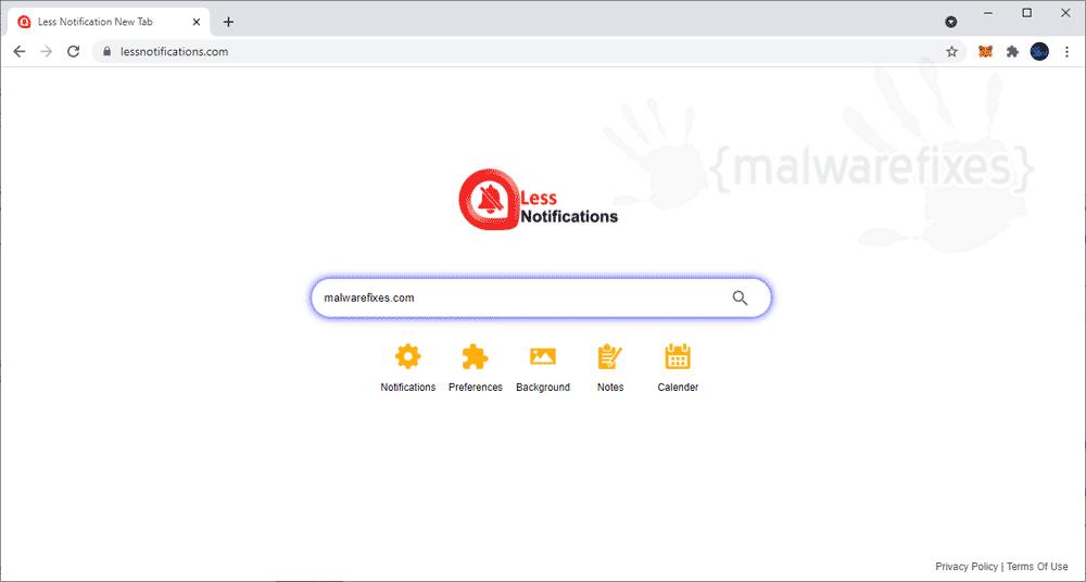 Screenshot of Lessnotifications.com Homepage