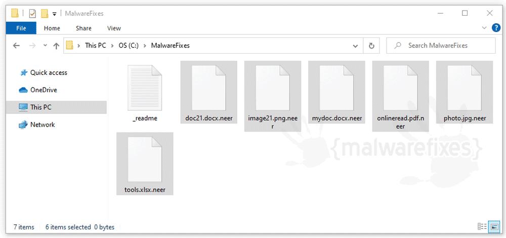 Screenshot of Neer encrypted files