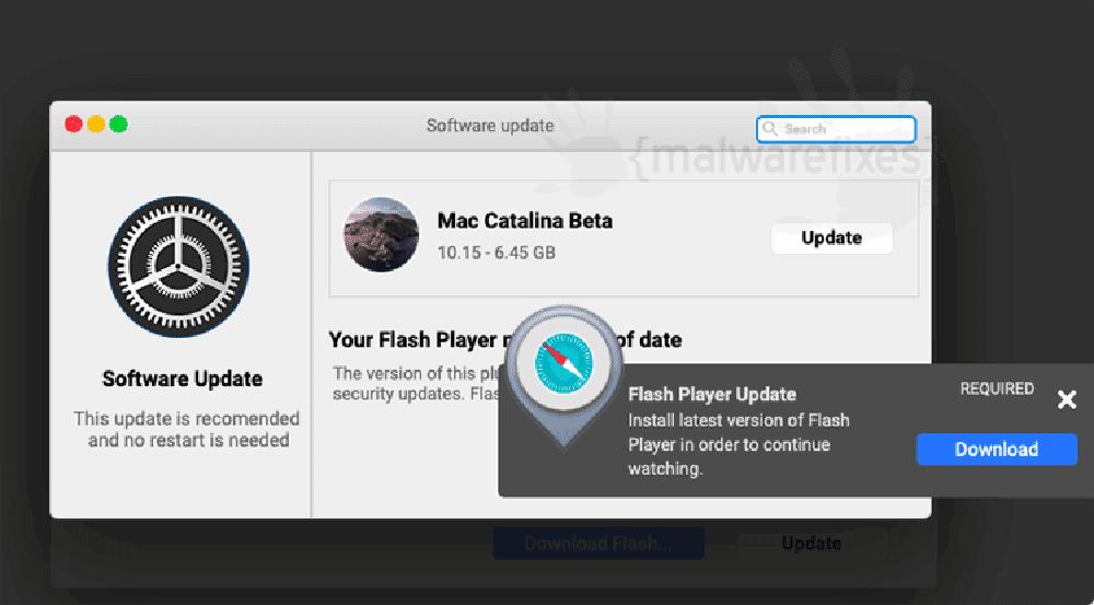 Screenshot of NetworkSync fake update