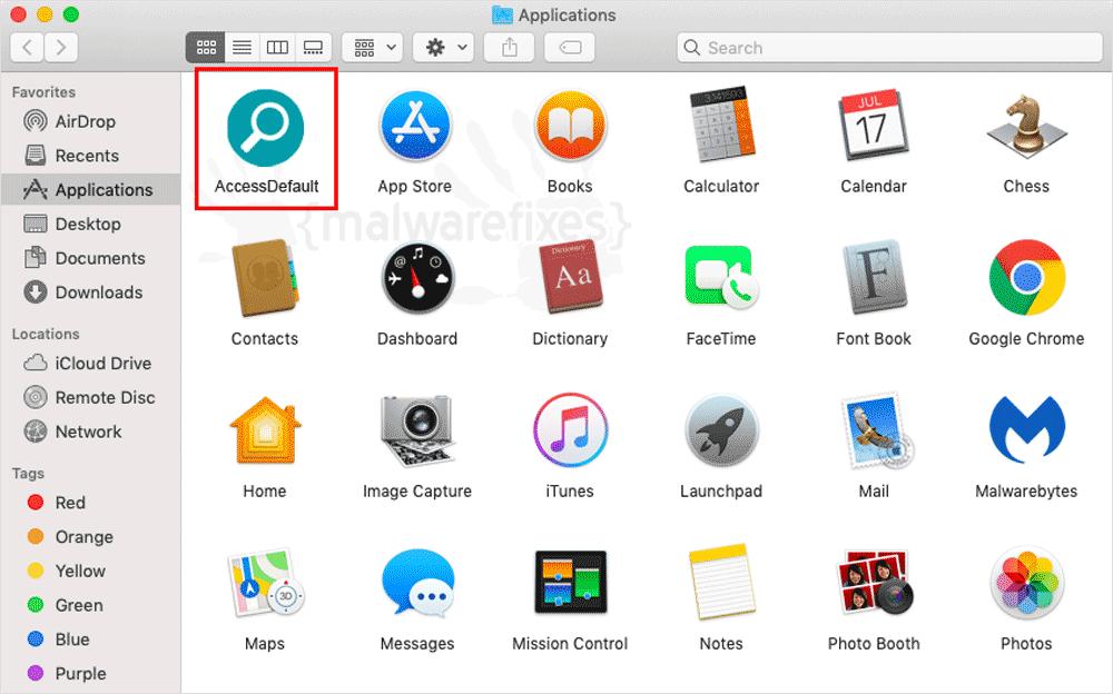 Screenshot of AccessDefault Adware