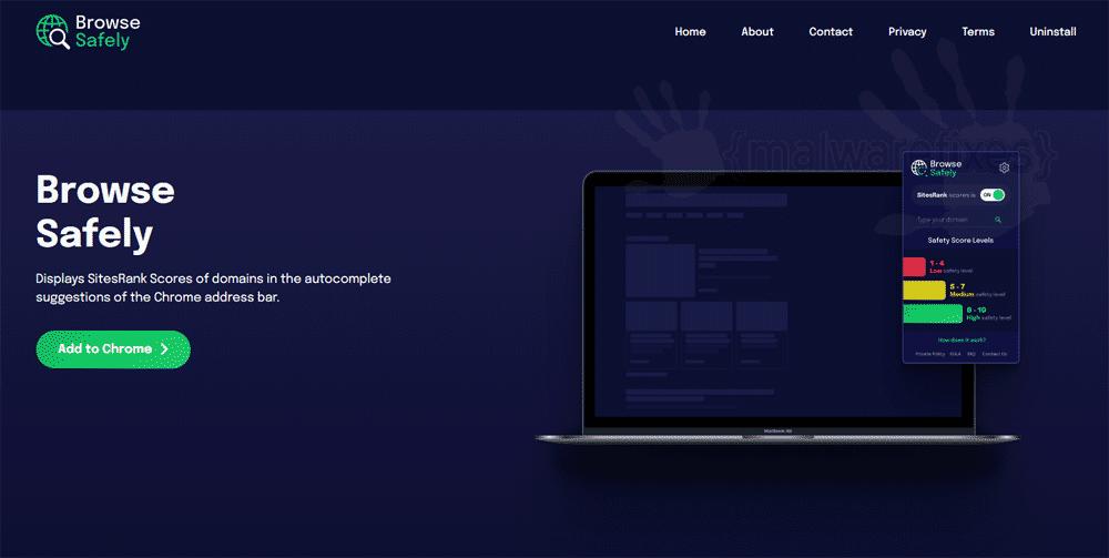 Screenshot of Browse Safely website