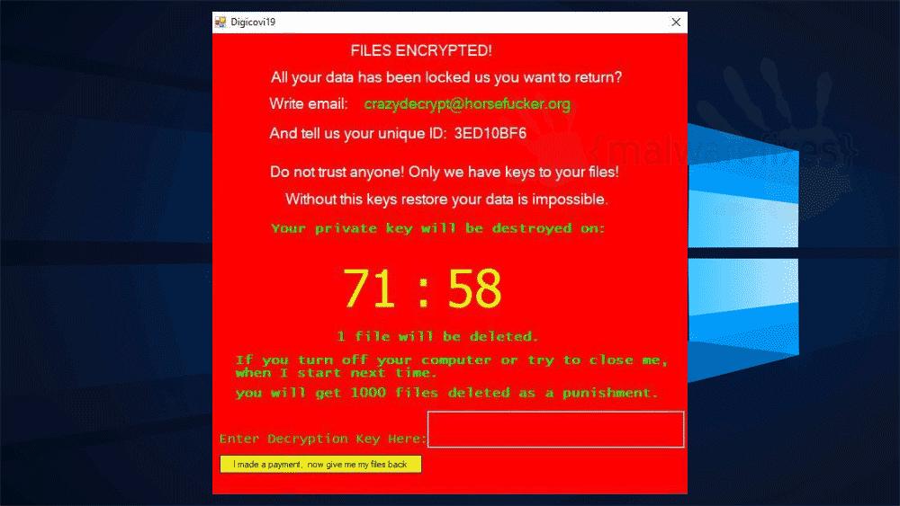 Screenshot of CrazyCrypt ransom note