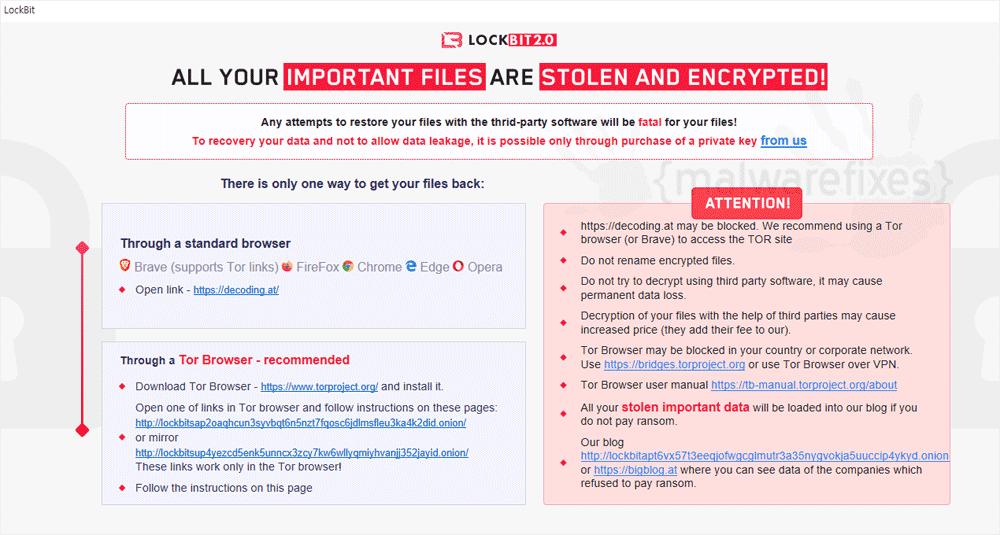 Screenshot of LockBit 2.0 ransom note