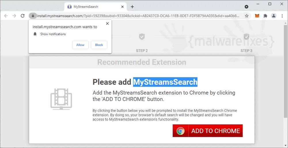 Screenshot of MyStreamsSearch website