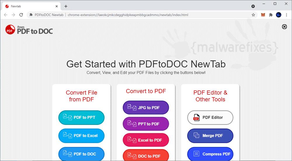 Screenshot of PDFtoDoc Newtab
