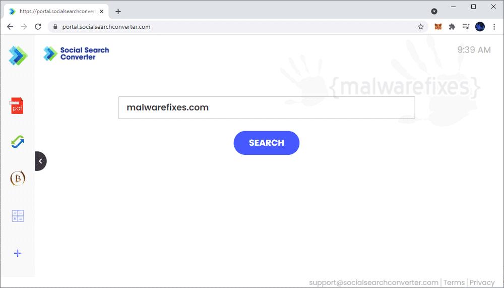 Screenshot of SocialSearchConverter.com