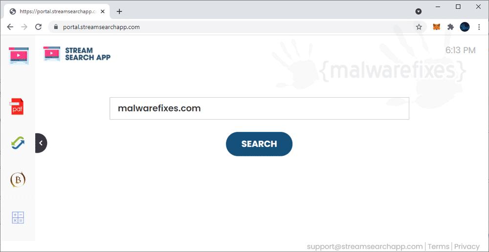 Screenshot of StreamSearchApp.com