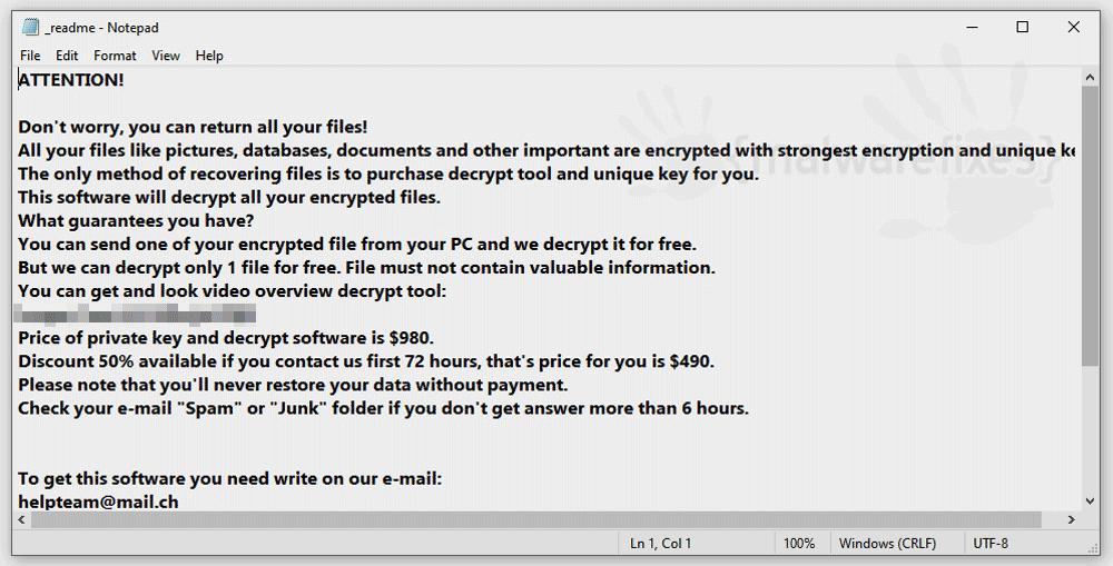 Zzla ransom note screenshot