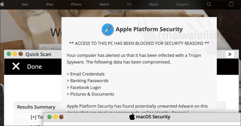 Screenshot of Apple Platform Security Fake Alert