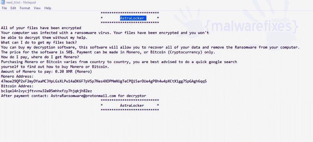 Screenshot of AstraLocker ransom note