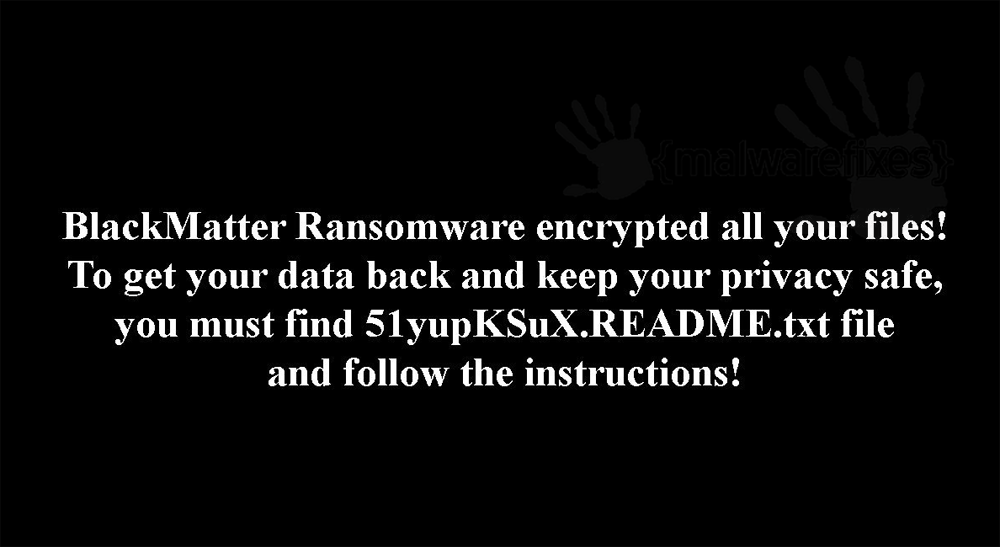 Screenshot of BlackMatter ransom note