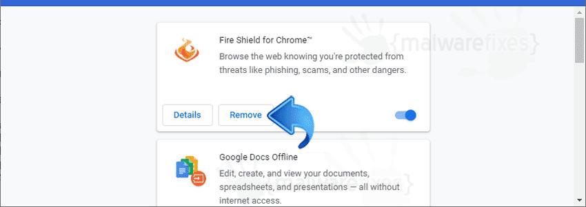 Screenshot of Fire Shield Chrome Extension