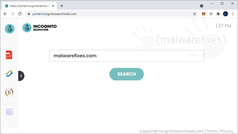 Screenshot of IncognitoSearchWeb