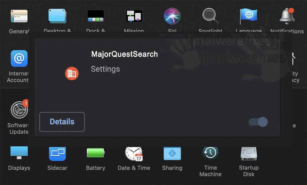 Screenshot of MajorQuestSearch App