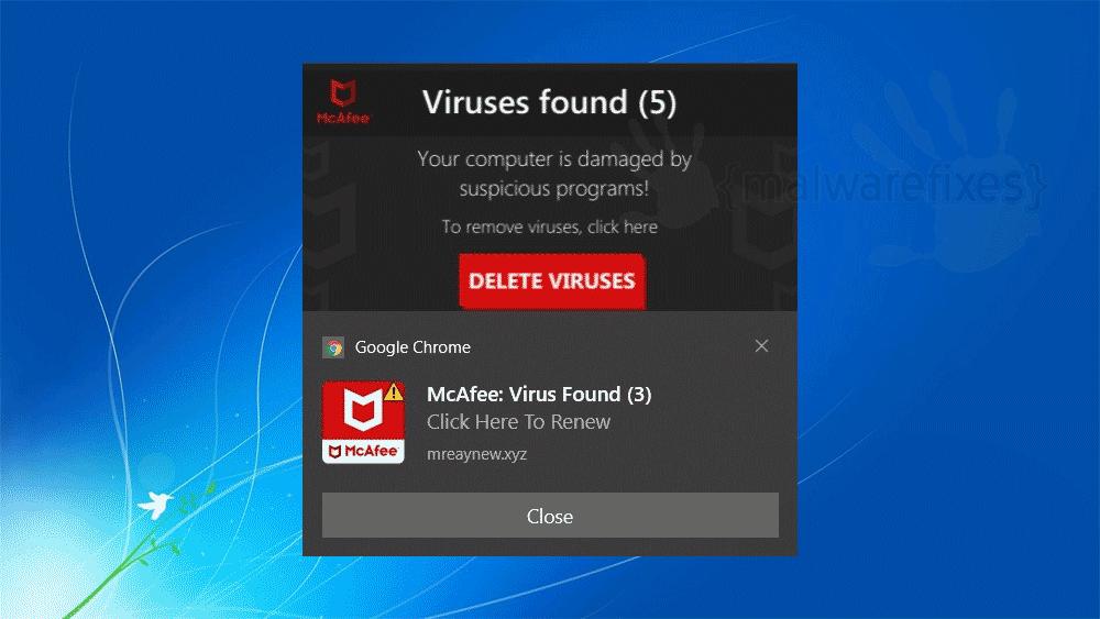 Screenshot of McAfee: Virus found