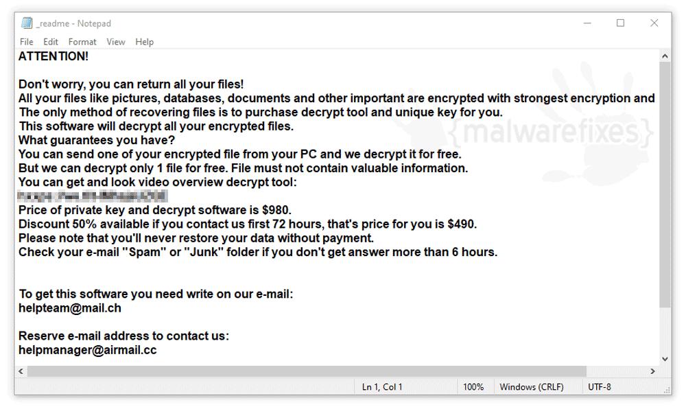 Screenshot of Orkf ransom note