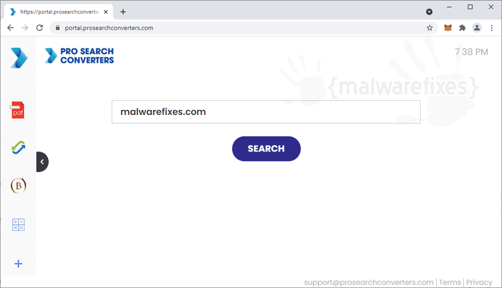 Screenshot of Pro Search Converters homepage