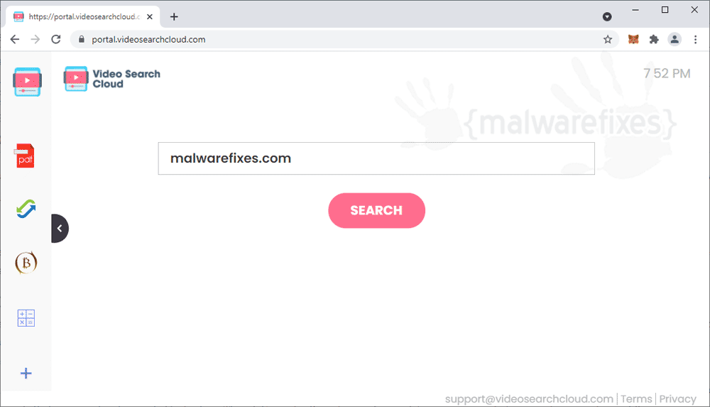 Screenshot of Videosearchcloud.com website