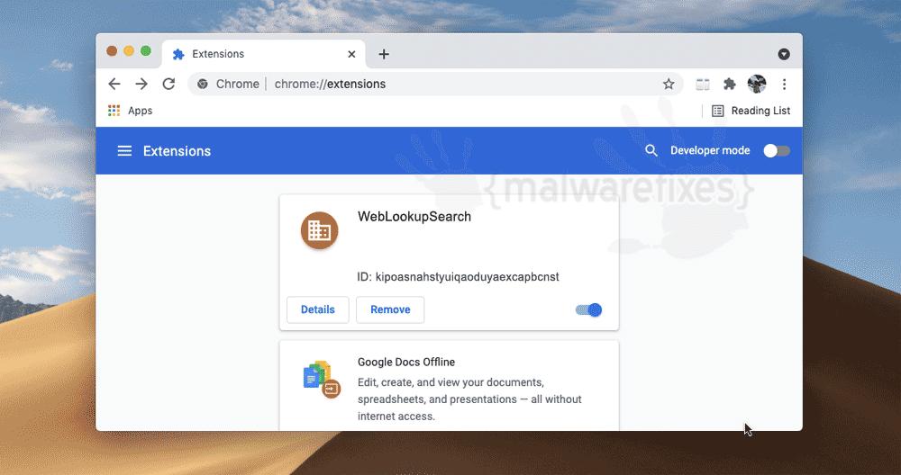 Screenshot of WebLookupSearch App