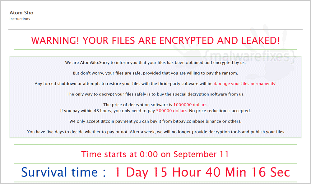 Screenshot of AtomSilo ransom note