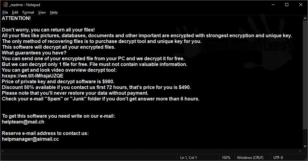 Screenshot of Efdc ransom note