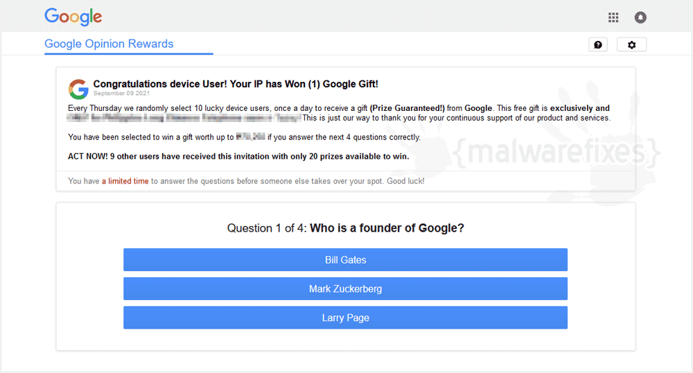 Fake Google Opinion Rewards
