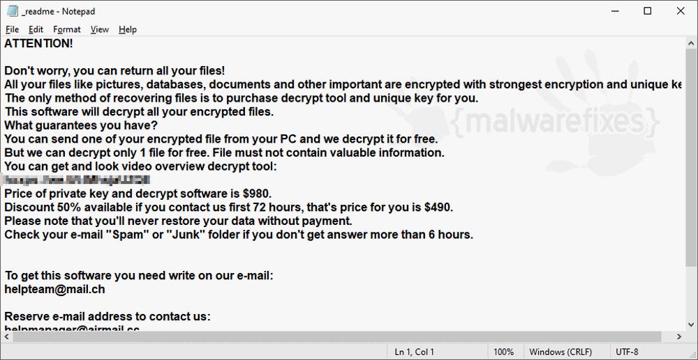 Screenshot of Koom Ransomware
