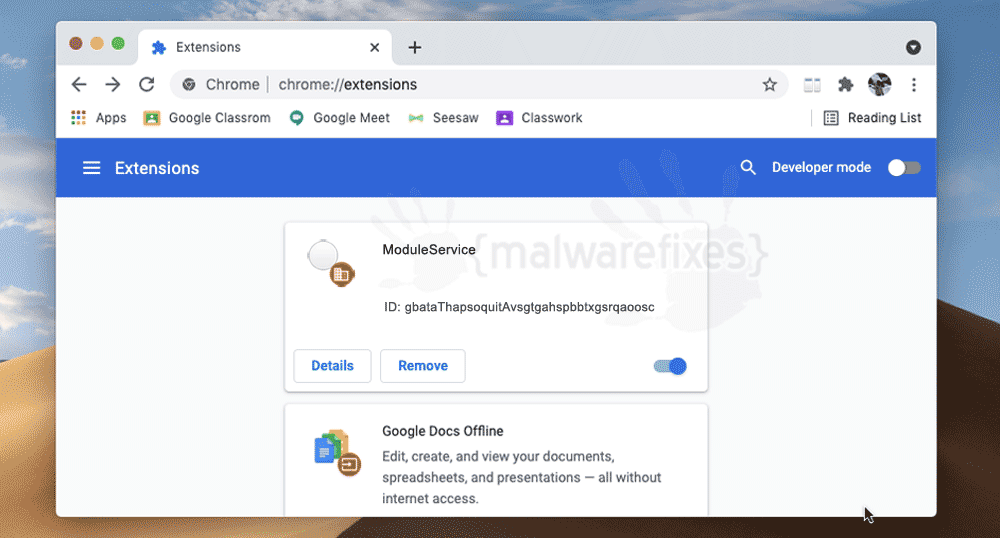 Screenshot of ModuleService App