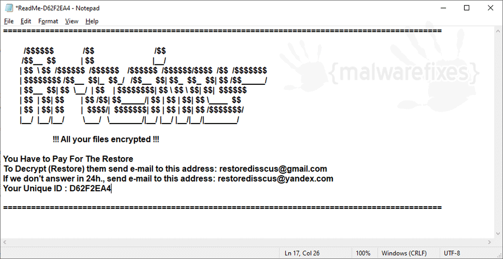 Screenshot of PewPew Ransomware 999
