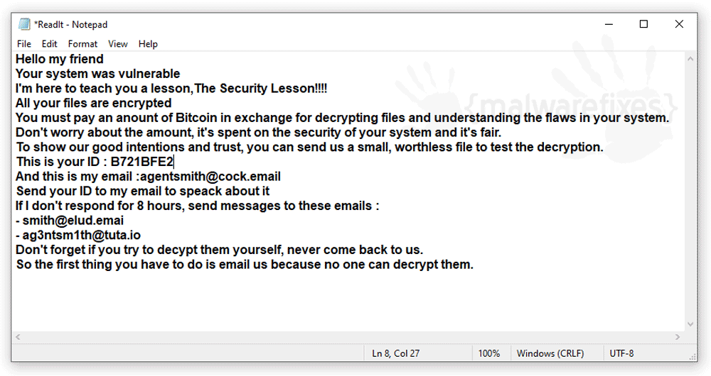 Screenshot of REAL ransom note