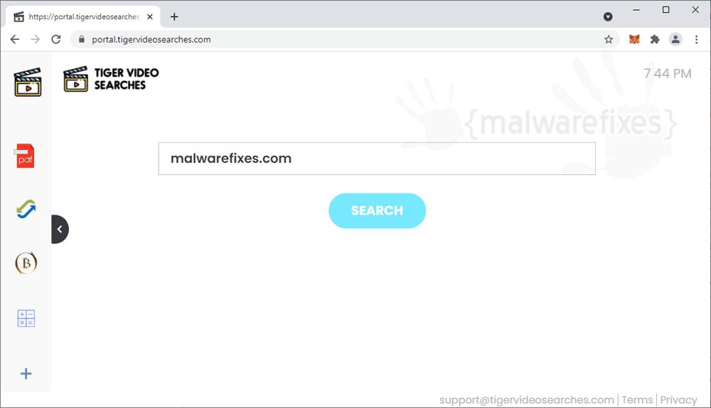 Screenshot of Tigervideosearches.com website