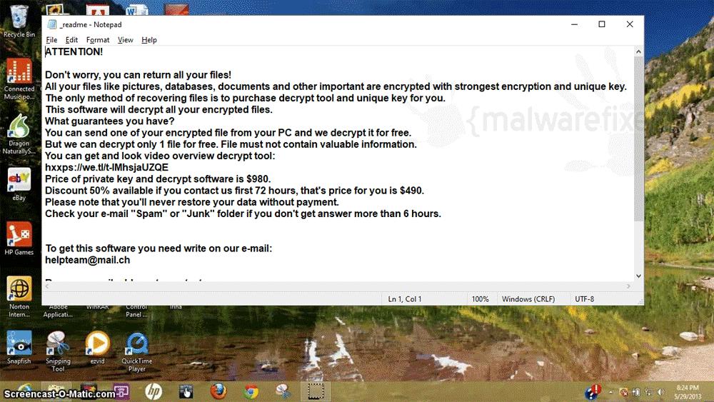 Screenshot of Mded ransom note