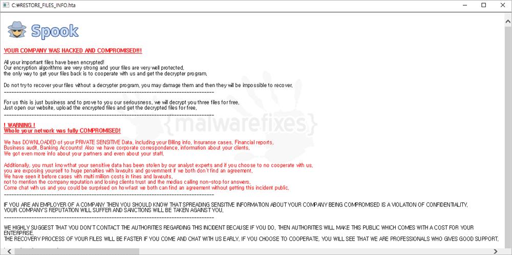 Screenshot of Spook ransom note